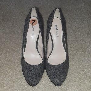 Nine West Gray Canvas Heels